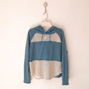 Free People Blue Crochet Hoodie Sweatshirt Small